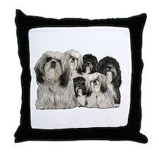 tibetan terrier group Throw Pillow