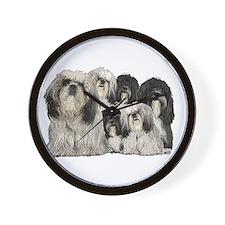 tibetan terrier group Wall Clock