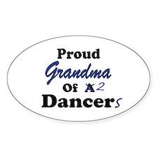 Grandma of 2 Dancers Oval Decal