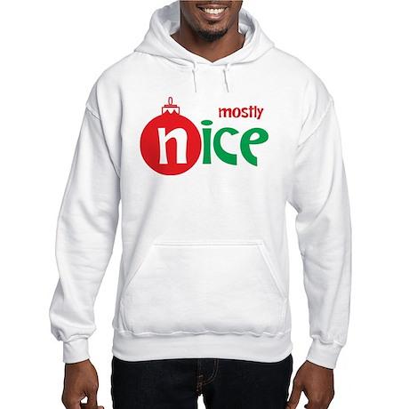 Christmas Mostly Nice Hooded Sweatshirt