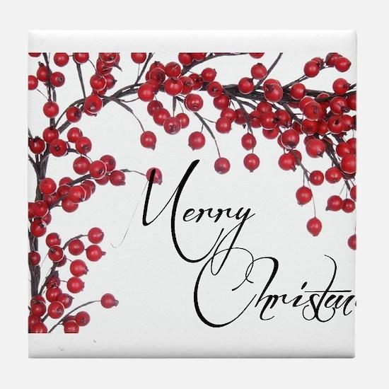 Merry Christmas Berries Tile Coaster