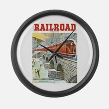 Railroad Magazine Cover 1 Large Wall Clock