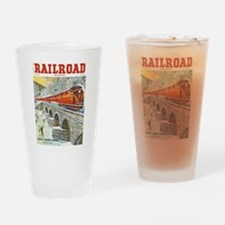 Railroad Magazine Cover 1 Drinking Glass
