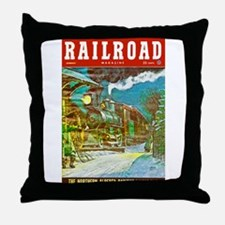 Railroad Magazine Cover 2 Throw Pillow