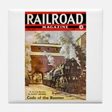 Railroad Magazine Cover 3 Tile Coaster