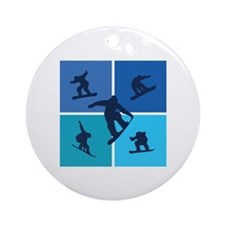Nice various snowboarding Ornament (Round)