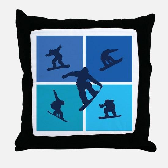 Nice various snowboarding Throw Pillow