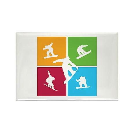 Nice various snowboarding Rectangle Magnet (100 pa
