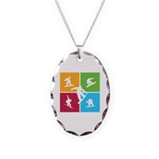 Nice various snowboarding Necklace Oval Charm