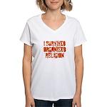 I Survived Organized Religion Women's V-Neck T-Shi