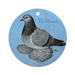 Frillback Pigeon Grizzle Ornament (Round)