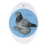 Frillback Pigeon Grizzle Ornament (Oval)