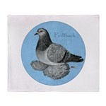 Frillback Pigeon Grizzle Throw Blanket