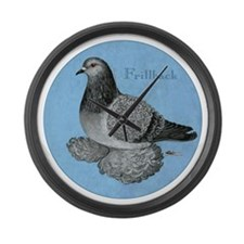 Frillback Pigeon Grizzle Large Wall Clock