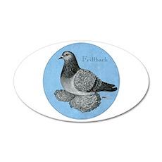 Frillback Pigeon Grizzle 22x14 Oval Wall Peel