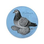 "Frillback Pigeon Grizzle 3.5"" Button (100 pac"
