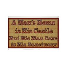 Man Cave Sanctuary Rectangle Magnet