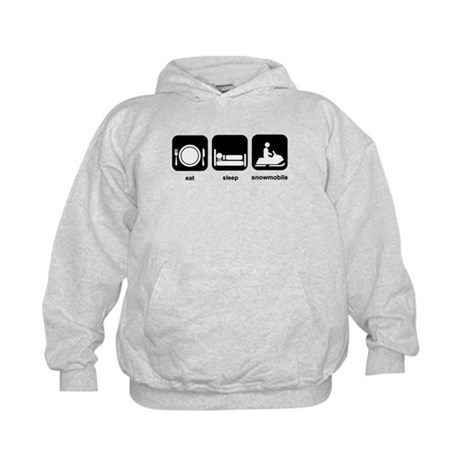 Eat Sleep Snowmobile Kids Hoodie