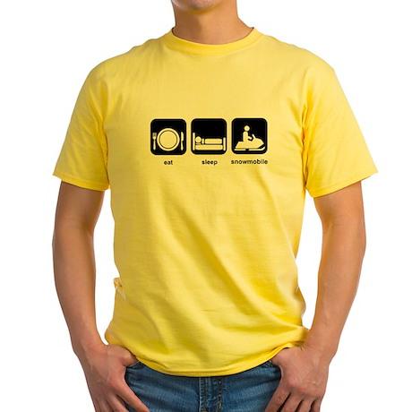 Eat Sleep Snowmobile Yellow T-Shirt