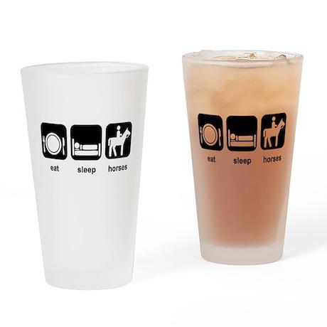 Eat Sleep Horses Drinking Glass