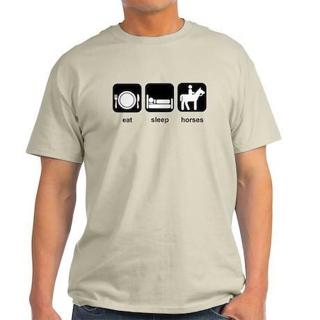 Eat Sleep Horses Light T-Shirt