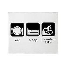 Eat Sleep Mountain Bike Throw Blanket