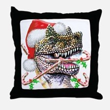 Dinosaur Christmas Throw Pillow