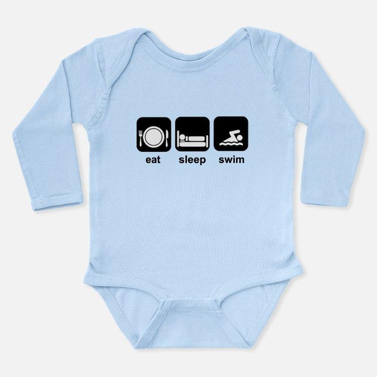Eat Sleep Swim Long Sleeve Infant Bodysuit