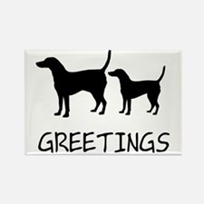 Greetings Dog Sniffs Rectangle Magnet
