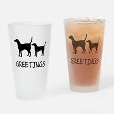 Greetings Dog Sniffs Drinking Glass