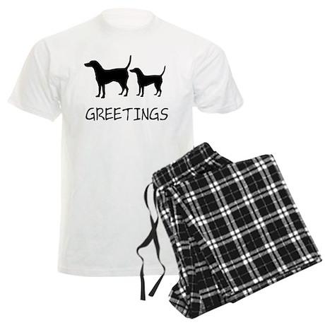 Greetings Dog Sniffs Men's Light Pajamas