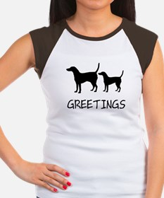 Greetings Dog Sniffs Women's Cap Sleeve T-Shirt