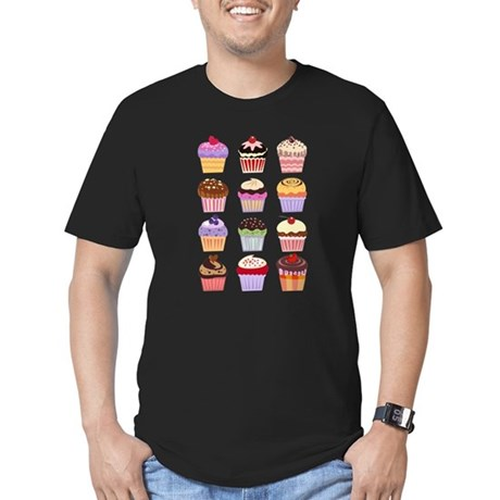 Dozen of Cupcakes Men's Fitted T-Shirt (dark)