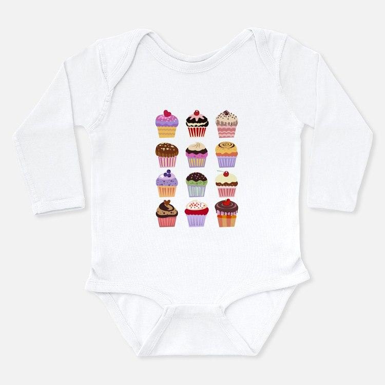Dozen of Cupcakes Long Sleeve Infant Bodysuit