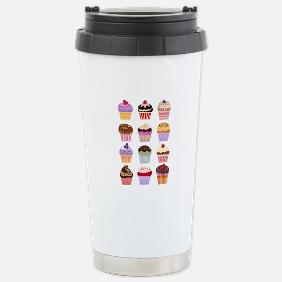 Dozen of Cupcakes Stainless Steel Travel Mug