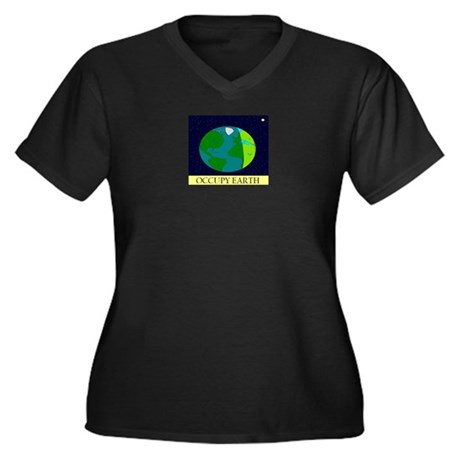 Occupy Earth Women's Plus Size V-Neck Dark T-Shirt