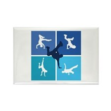 Nice various breakdancing Rectangle Magnet (100 pa