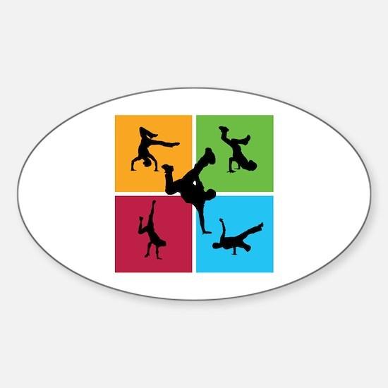 Nice various breakdancing Sticker (Oval)