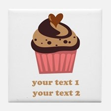 PERSONALIZE Chocolate Cupcake Tile Coaster