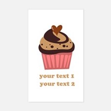 PERSONALIZE Chocolate Cupcake Sticker (Rectangle)