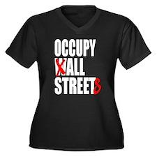Occupy Graffiti Logo Women's Plus Size V-Neck Dark