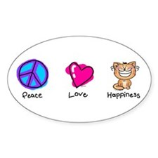 Peace Love and Cats Oval Decal