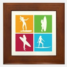 various surfing girls Framed Tile