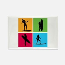 various surfing girls Rectangle Magnet