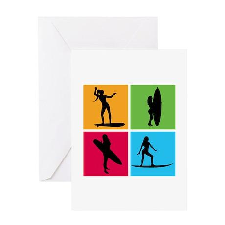 various surfing girls Greeting Card