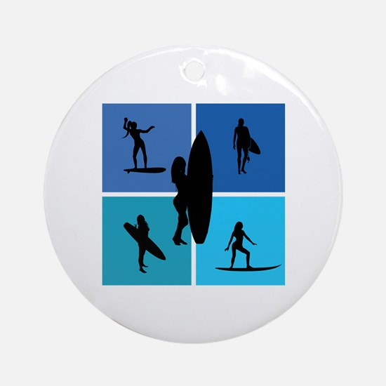 various surfing girls Ornament (Round)
