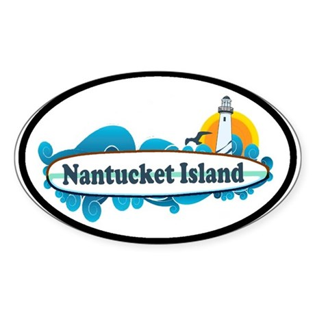 Nantucket MA - Surf Design. Sticker (Oval)