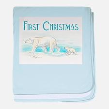 First Christmas Polar Bears baby blanket