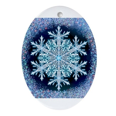 December Snowflake Ornament (Oval)