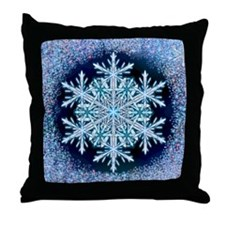 December Snowflake Throw Pillow